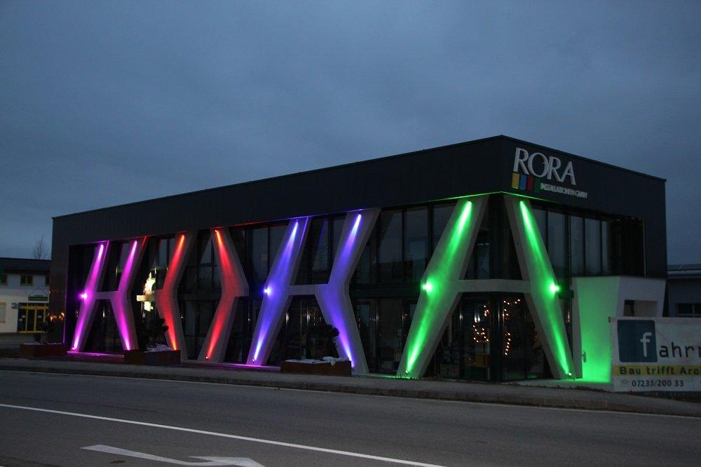 rora fassade carbon glas beton farbig nachtbeleuchtung. Black Bedroom Furniture Sets. Home Design Ideas