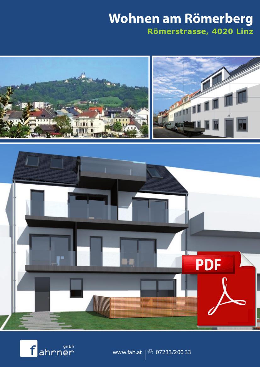 Info Folder zu exklusivem Mehrparteienhaus in Linz – Römerstrasse